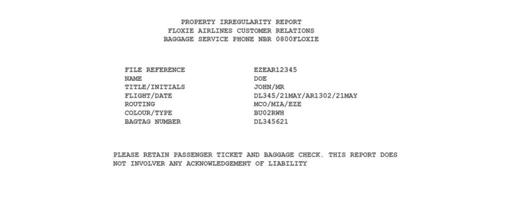 Déclaration de sinistre « Property irregularity report » de Singapore Airlines
